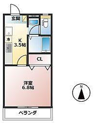 樽見鉄道 東大垣駅 3.6kmの賃貸アパート 2階1Kの間取り