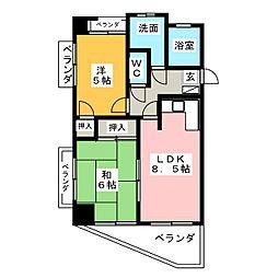 ロイヤル杁中[8階]の間取り
