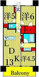 JR高崎線 尾久駅 徒歩1分の賃貸マンション 5階3LDKの間取り