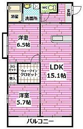 広島県広島市安佐南区上安2丁目の賃貸アパートの間取り