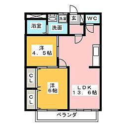 シティハイツ萩B[2階]の間取り