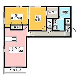 プレガーレ 3階2LDKの間取り