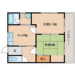 奈良県奈良市肘塚町の賃貸アパートの間取り