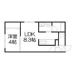 北海道札幌市中央区南二条西19丁目の賃貸マンションの間取り