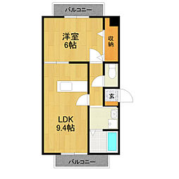 第3奥村マンション[3A号室]の間取り