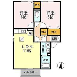 グリーンベルズ D棟[1階]の間取り