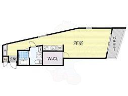 南海高野線 百舌鳥八幡駅 徒歩8分の賃貸マンション 4階ワンルームの間取り
