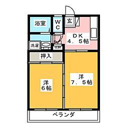 福室マンション[2階]の間取り