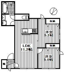 シュタインズゲート成城 1階2LDKの間取り