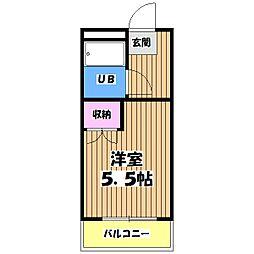 東京都羽村市栄町1丁目の賃貸マンションの間取り