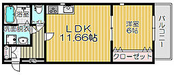Osaka Metro谷町線 守口駅 徒歩13分の賃貸アパート 2階1LDKの間取り