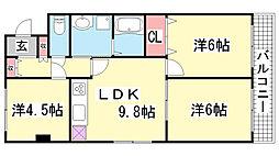 ライオンズマンション三宮[513号室]の間取り