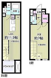 東急目黒線 西小山駅 徒歩8分の賃貸マンション 地下1階1LDKの間取り