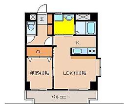 テンダーマンションスリー[502号室]の間取り