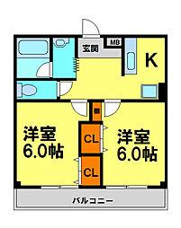 フォレストヒル・櫻 3階2Kの間取り