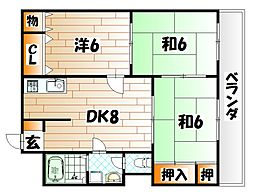 福岡県北九州市八幡東区西本町3丁目の賃貸マンションの間取り