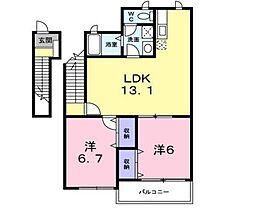 サニーガーデンB棟[1階]の間取り