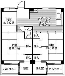 ビレッジハウス葛ノ葉7号棟[4階]の間取り