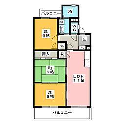 ロワイヤルA(アー)[2階]の間取り