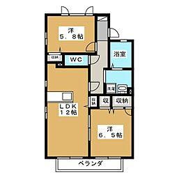 マ メゾン・ヤハタ B[2階]の間取り