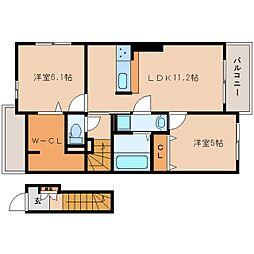 奈良県香芝市下田西2丁目の賃貸アパートの間取り