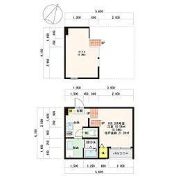 福岡市地下鉄七隈線 金山駅 徒歩9分の賃貸アパート 1階1Kの間取り
