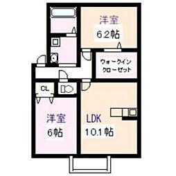 茨城県つくばみらい市小絹の賃貸アパートの間取り