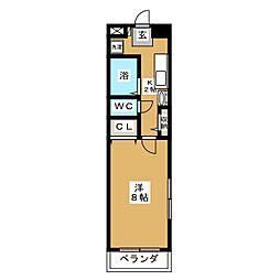 STUDIO北仙台[6階]の間取り