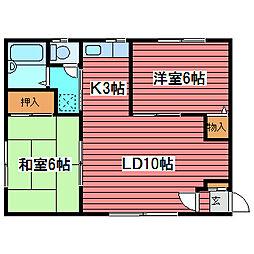 第一高栄コーポ[3階]の間取り