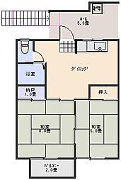 東郷シャトーハイツ[203号室]の間取り