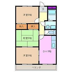 三重県四日市市ときわ5丁目の賃貸マンションの間取り