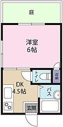 多摩川ハイツ 1階1DKの間取り