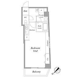 都営浅草線 浅草駅 徒歩9分の賃貸マンション 2階ワンルームの間取り