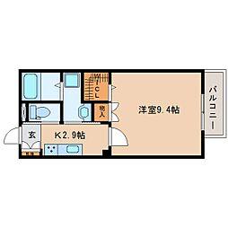 静岡県静岡市駿河区西中原2丁目の賃貸アパートの間取り