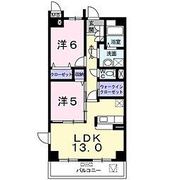 JR身延線 常永駅 徒歩15分の賃貸マンション 1階2LDKの間取り