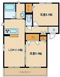 シャーメゾン若江[1階]の間取り