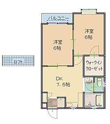 東京都清瀬市中清戸1丁目の賃貸アパートの間取り