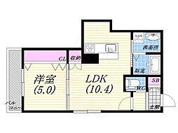 JR東海道・山陽本線 西宮駅 徒歩10分の賃貸マンション 1階1LDKの間取り