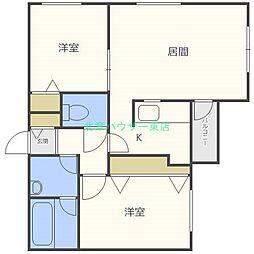 北海道札幌市東区北三十六条東1丁目の賃貸マンションの間取り