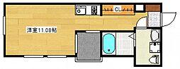 JR山陽本線 五日市駅 徒歩18分の賃貸アパート 2階ワンルームの間取り