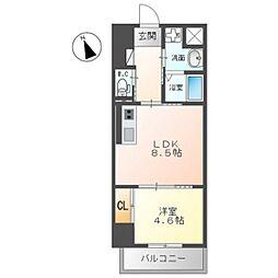 JR呉線 天神川駅 徒歩27分の賃貸マンション 2階1LDKの間取り