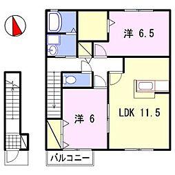 グランドゥール飾東[2階]の間取り