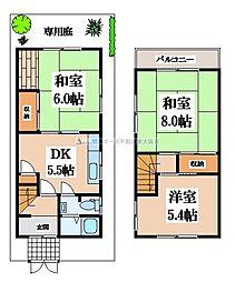 [一戸建] 大阪府東大阪市南荘町 の賃貸【/】の間取り