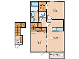 和歌山県和歌山市向の賃貸アパートの間取り