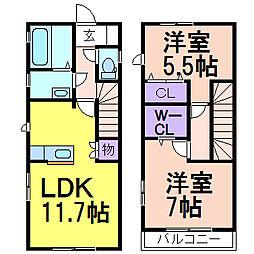 グローブハウス C棟 1階2LDKの間取り