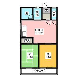 コーポ溝口[3階]の間取り
