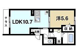 JR片町線(学研都市線) 木津駅 徒歩9分の賃貸アパート 1階1LDKの間取り
