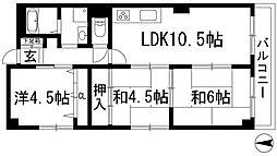 兵庫県川西市見野2丁目の賃貸マンションの間取り