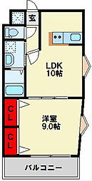 浅野ベイタワー 10階1LDKの間取り