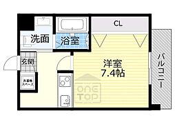 おおさか東線 JR野江駅 徒歩7分の賃貸マンション 2階1Kの間取り